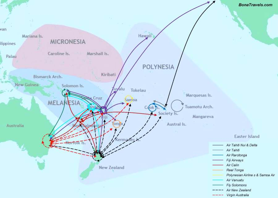South Pacific flight connections